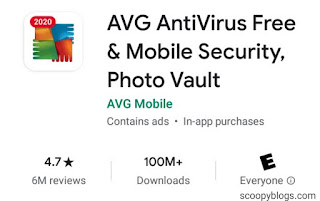 AVG Antivirus App Ratings and Downloads on playstore