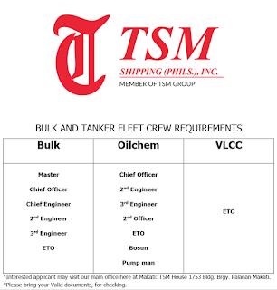 Recruitment Of Bulk & Tanker Fleet Crew