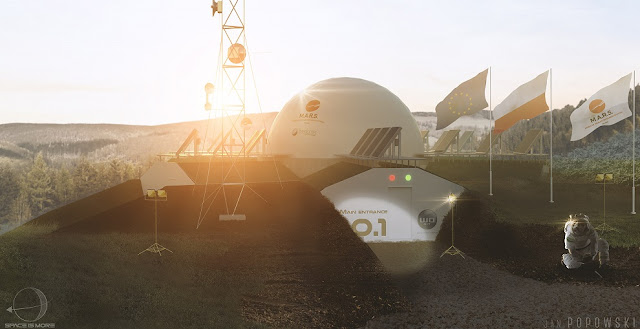 Artist's rendering of the Modular Analog Research Station (M.A.R.S.) where the PMAS 2017 mission will take place. Image Credit: Marshub.org / Space Garden Company / Jan Popowski