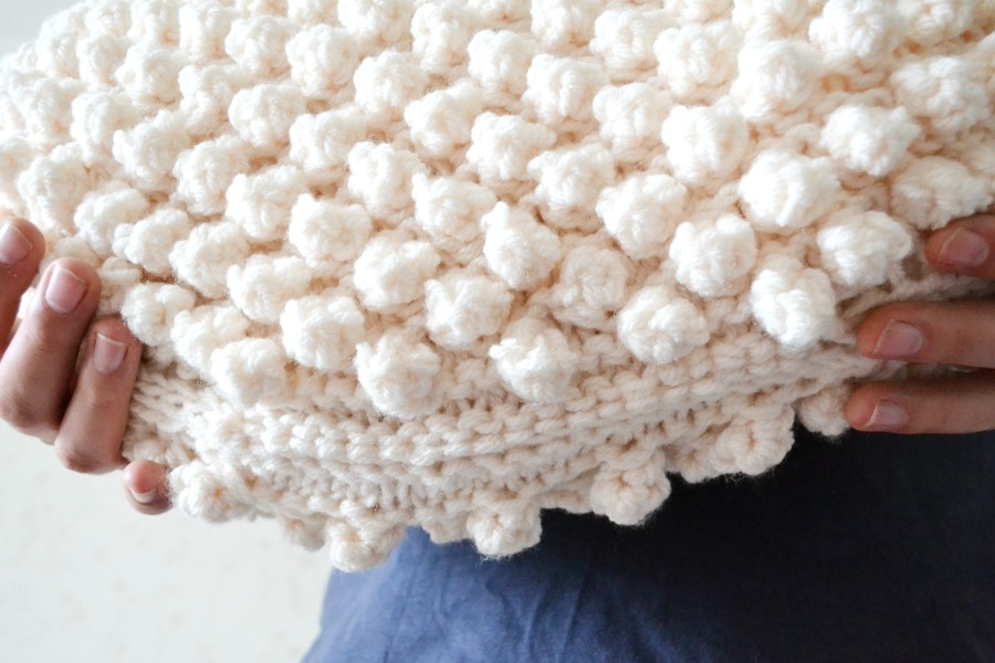 sheep cushion knitted bobble stitch finished knits purl soho pillow kitchener stitch