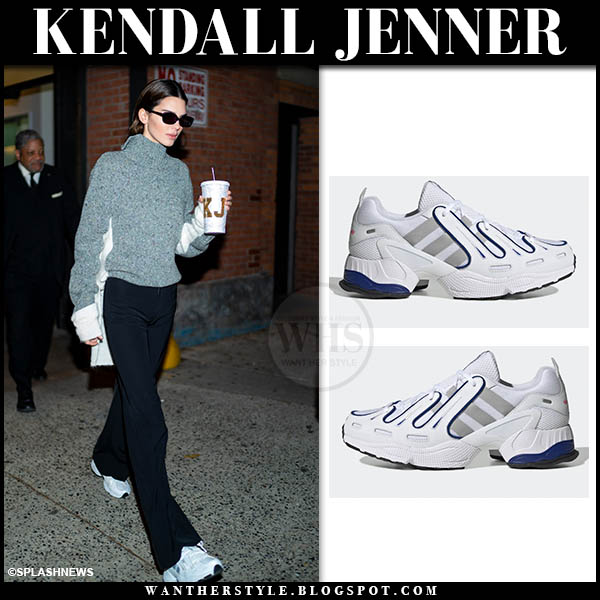 Kendall Jenner in white Adidas EQT Gazelle sneakers in NYC