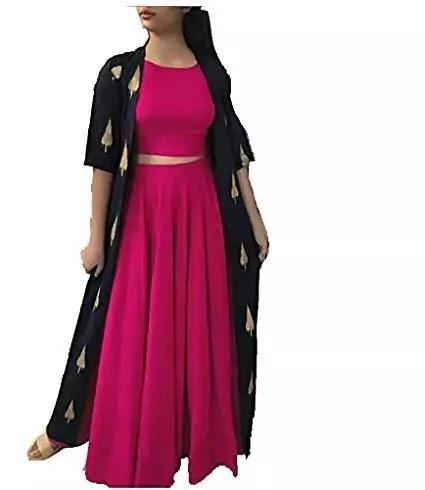 Rayon Kurtis Skirt with Shrug For Girls, On 70% Discount