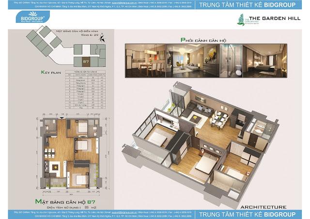 Căn hộ B7 tầng 6-29, diện tích 89m2