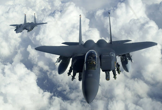 American fighter jets F-15 siege Iranian passenger flight in mid-air