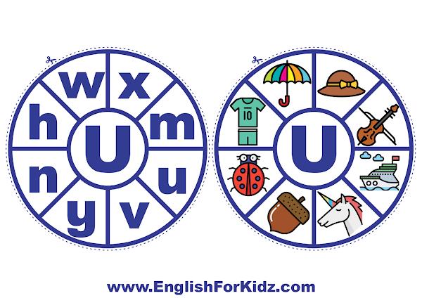 Alphabet matching wheel - letter u - clothespin ABC activities