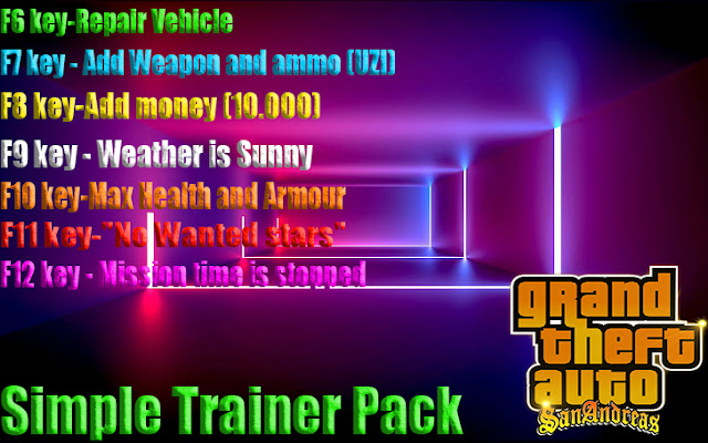 GTA San Andreas Simple Trainer Pack Latest Version