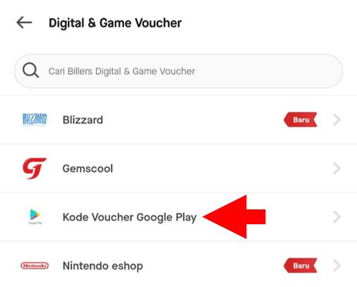 Pilih Kode Voucher Google Play