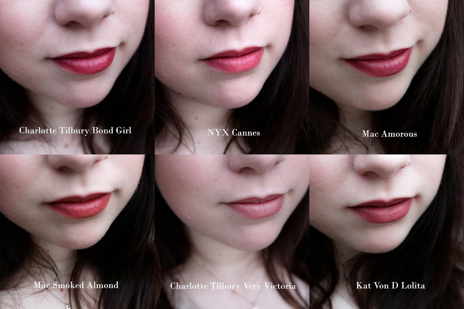 Charlotte TIlbury Bond Girl, Charlotte TIlbury Very Victoria, MAC Amorous, MAC Smoked Almond, Kat Von D Lolita
