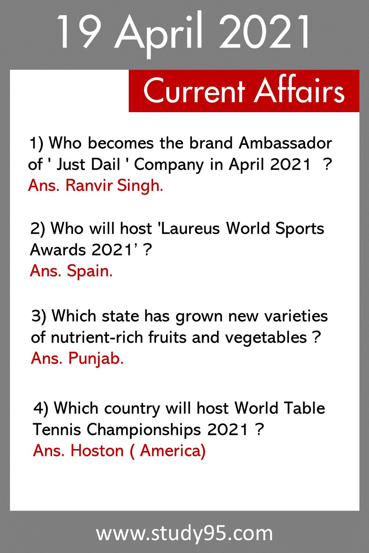 19 April Current Affairs 2021