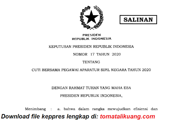 keputusan presiden keppres nomor 17 tahun 2020 tentang cuti bersama asn ns tahun 2020 pdf tomatalikuang.com