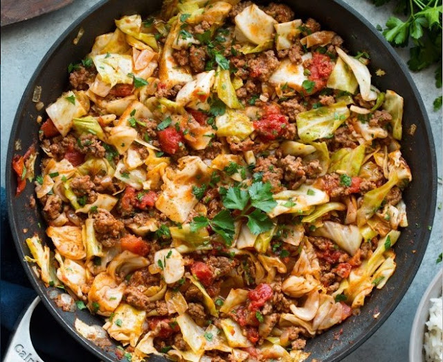 Low Carb Unstuffed Cabbage Roll Casserole #healthy #lowcarb