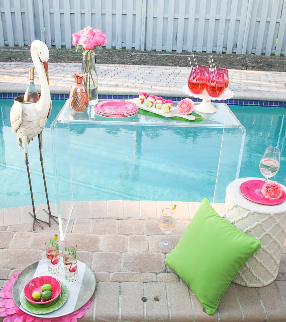 Summer Flamingo Pool Party Bar with Pier 1 by popular South Florida party blogger Celebration Stylist