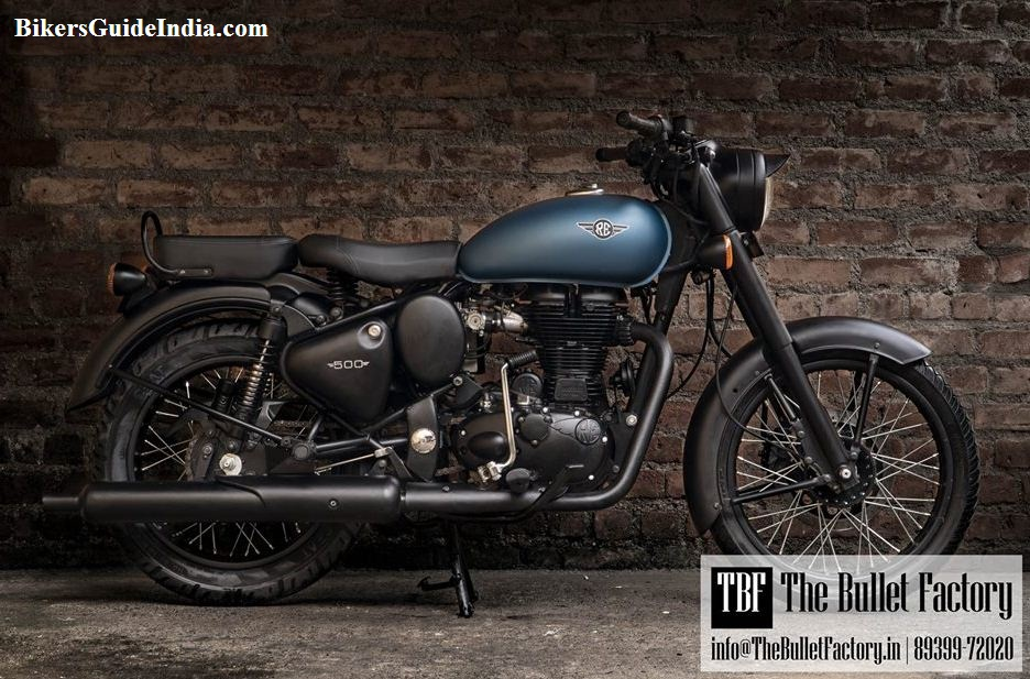 The Royal Enfield Classic tank with RE logo and change  silencer