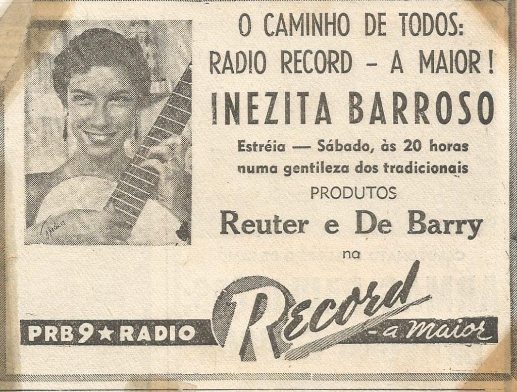 Anúncio de lançamento do programa de Inezita Barroso na Rádio Record em 1954