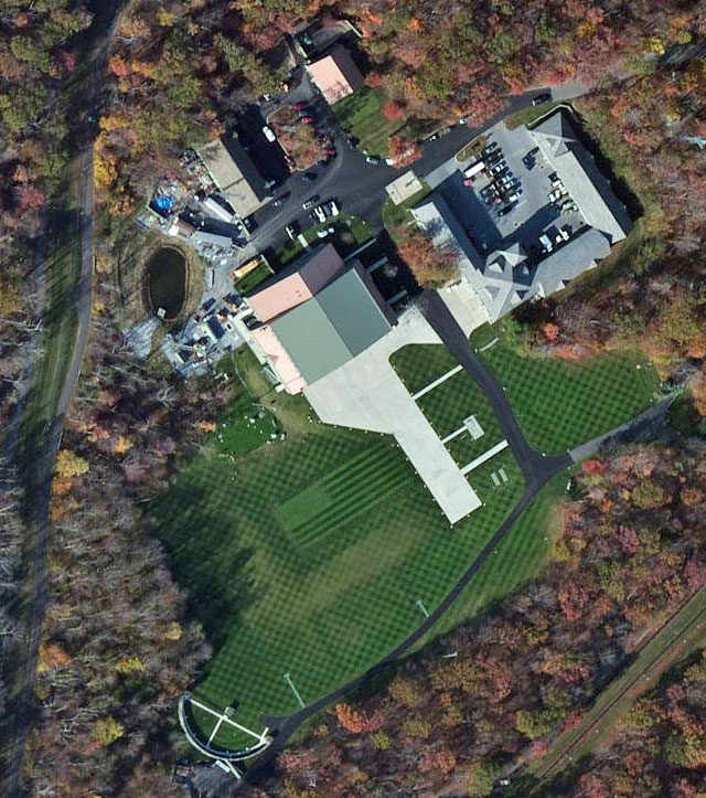 bing maps satellite view of camp david skeet range and helicopter hangar