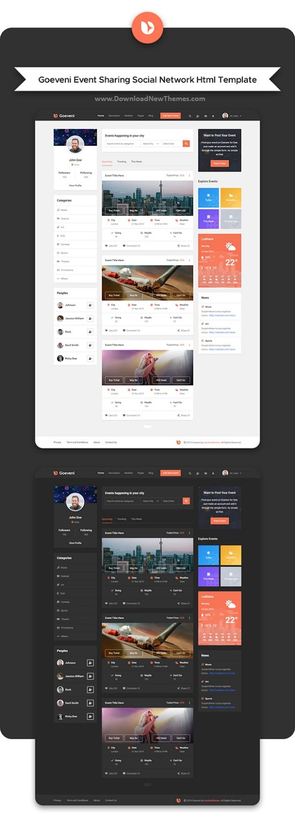 Event Sharing Social Network HTML Template