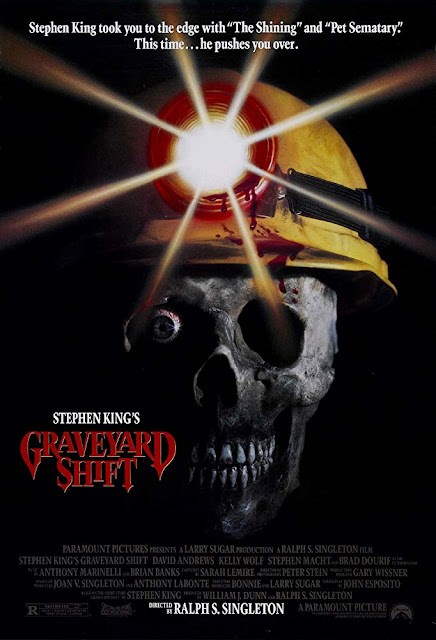 Movie poster for Paramount Pictures's 1990 horror film Stephen King's Graveyard Shift, starring David Andrews, Stephen Macht, Brad Dourif, and Kelly Wolf