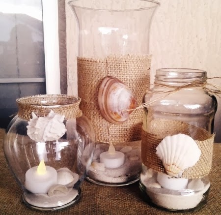 Beach burlap diy ideas for the home completely coastal - Decoration pot de confiture ...