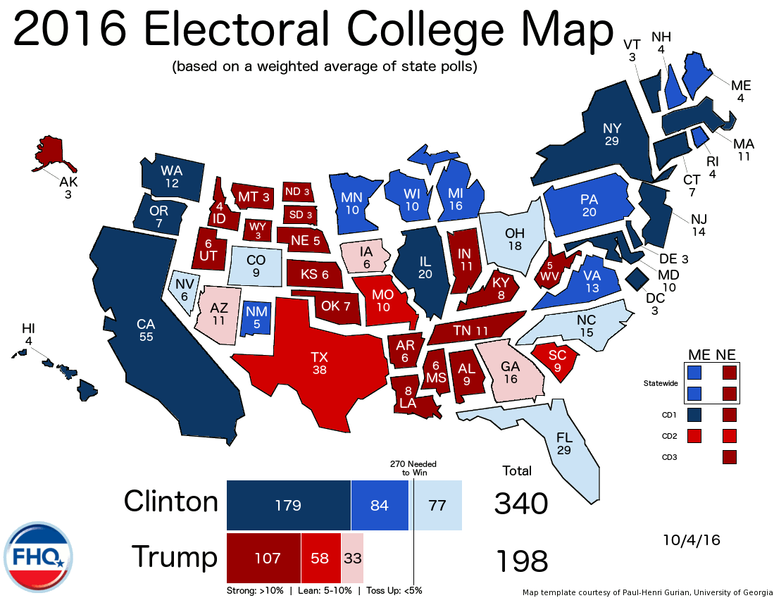 Frontloading HQ: The Electoral College Map (10/4/16)