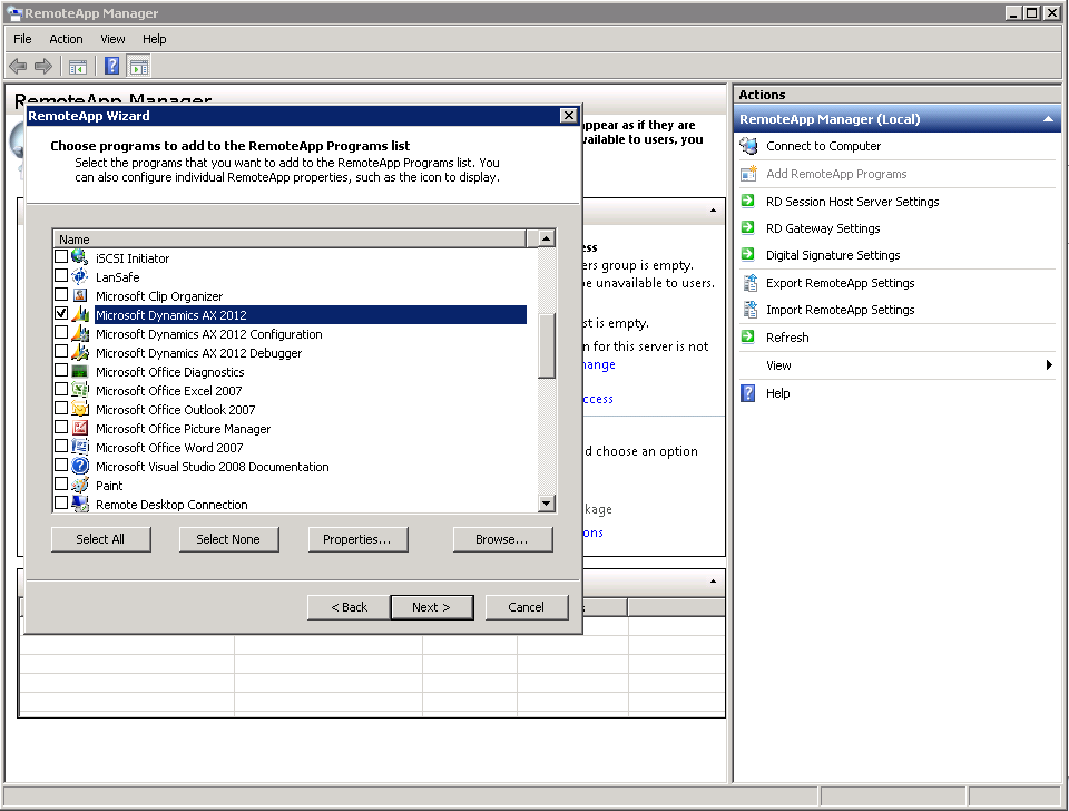 Publish Dynamics AX client as RemoteApp on Remote Desktop