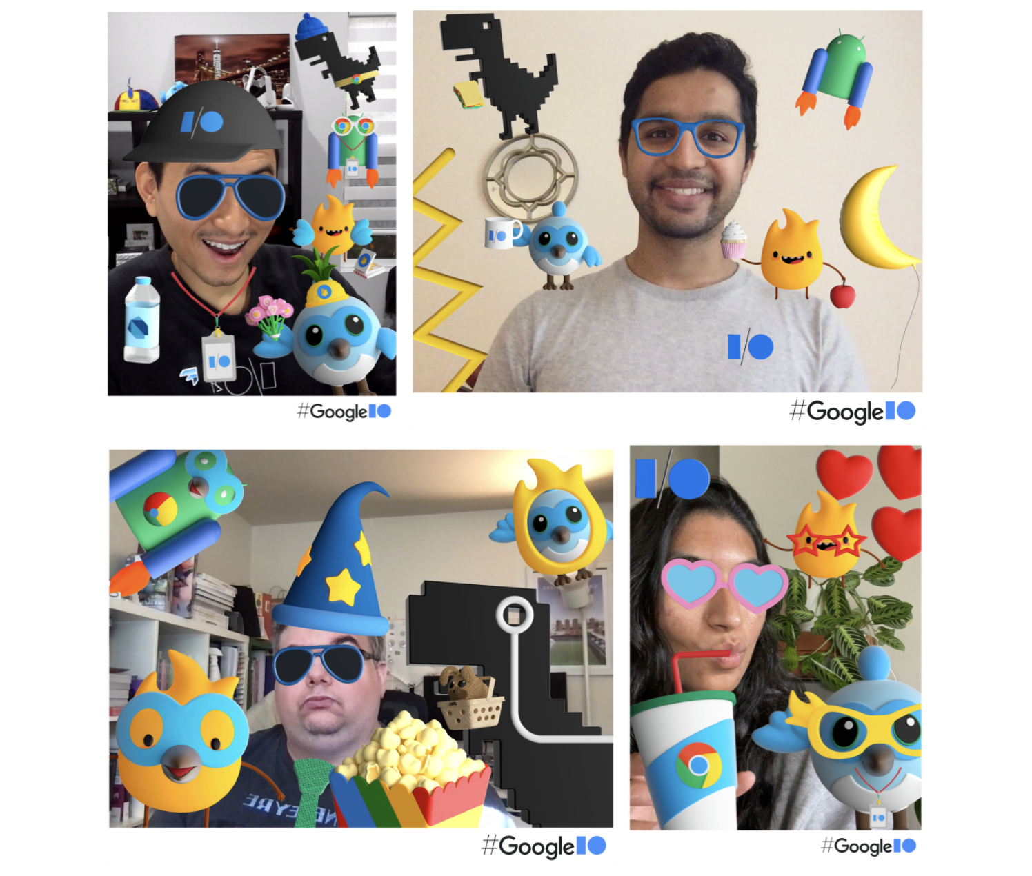 Flutter team members having fun in the photo booth