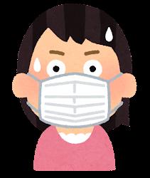 マスクを付けた人の表情のイラスト(女性・驚いた顔)