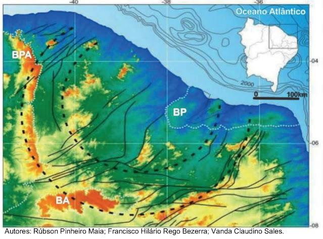 Considere o mapa a seguir de um setor do território brasileiro, em que se observam linhas escuras contínuas, situadas no interior da região, com diversas direções importantes para a análise físico-geográfica regional.