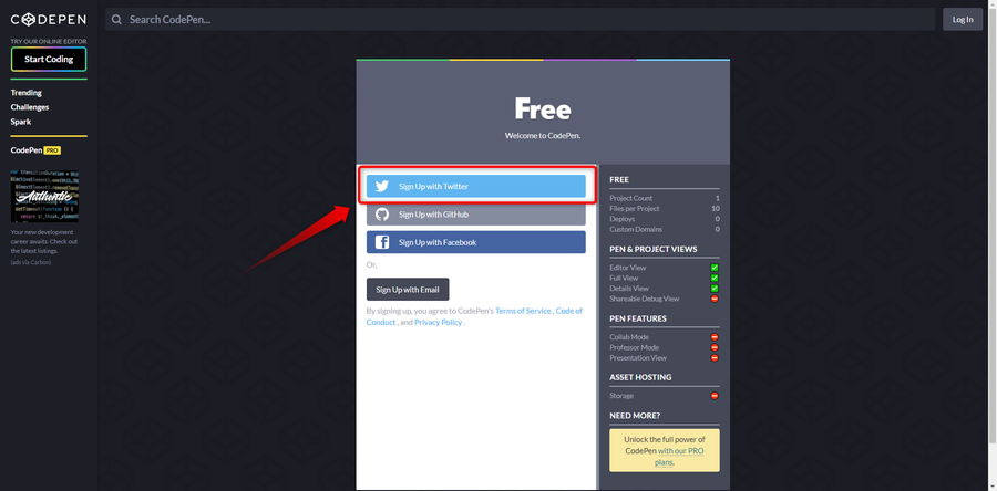 CodePenに登録ステップ2イメージ
