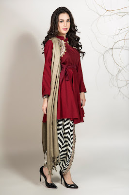 Maria B 3 piece embroidered belt Maroon color suit