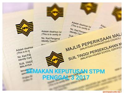 Semakan Keputusan STPM Penggal 3 2017 Online dan SMS