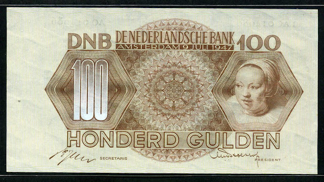 Netherlands currency 100 Gulden banknote Dutch guilder banknotes paper money