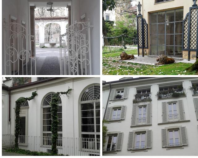 collage di foto di un cortile interno di un palazzo di Milano