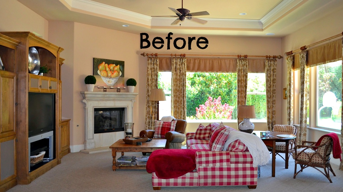 Child Friendly Blue & White Family Room Before and After