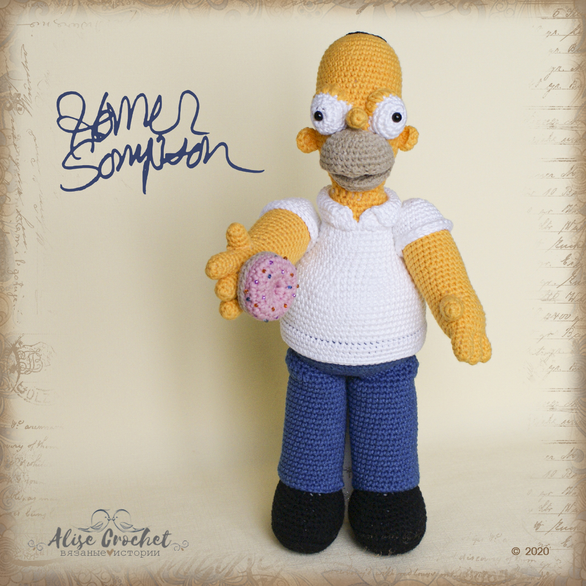 Гомер Симпсон мягкая игрушка вязаня крючком Homer Simpson soft toy crochet
