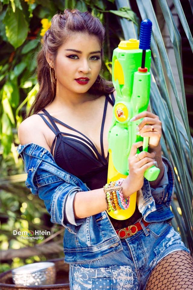 Chaw Kalayar Splashing Water Thingyan Style Photoshoot