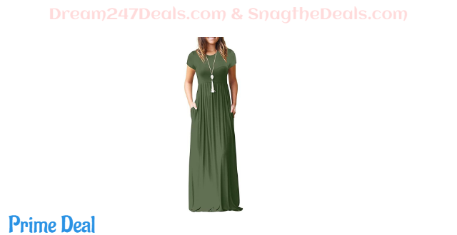 45%OFF  Women's Short Sleeve Long Swing Dress with Pocket