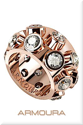 ♦Armoura Flair diamond ring in 18k rose gold #jewelry #armoura #brilliantluxury