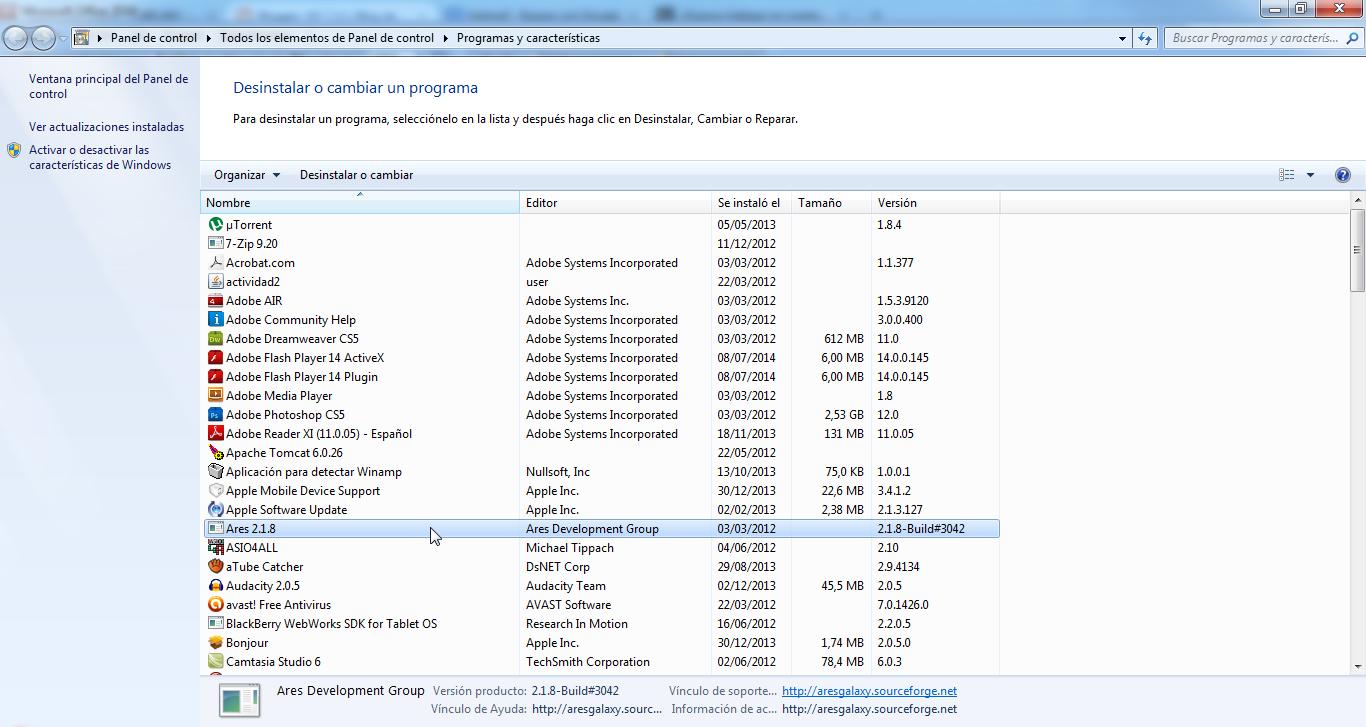 modulo de windows 7 para la desinstalacion de programas