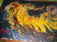 "Pelukis : Afandi Tahun: 1982 Judul : "" Barong I "" Ukuran : 150cm X 200cm Media : Oil on Canvas"