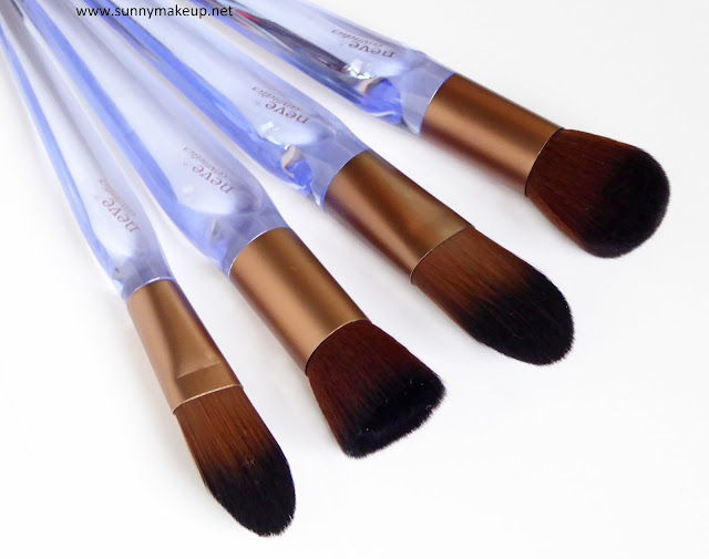 Neve Cosmetics - Crystal Flawless Brushes. Crystal Concealer, Crystal Flat, Crystal Base, Crystal Blush.
