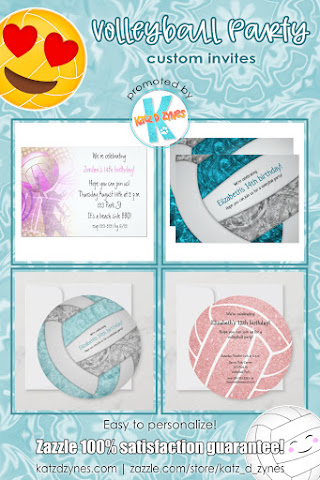 Volleyball party invitations and party supplies from katzdzynes