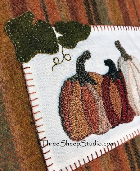 Pumpkin Punch Needle finished with Wool Applique by Rose Clay at ThreeSheepStudio.com