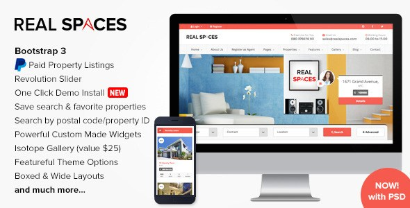 Free Download Real Spaces themeforest WordPress Real Estate Theme