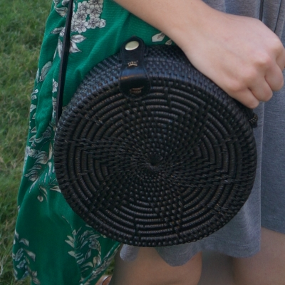 Amerii medium sling rattan bag in black | away from the blue