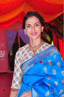 Actress Model Shilpa Reddy Exclusive Stills in Blue Saree at Vijay Karan Aashna Wedding  0009.JPG