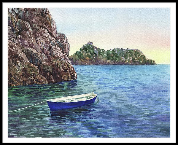 Watercolor Painting of Amalfi Coast Italy Grotto Emeraldo by the artist Irina Sztukowski