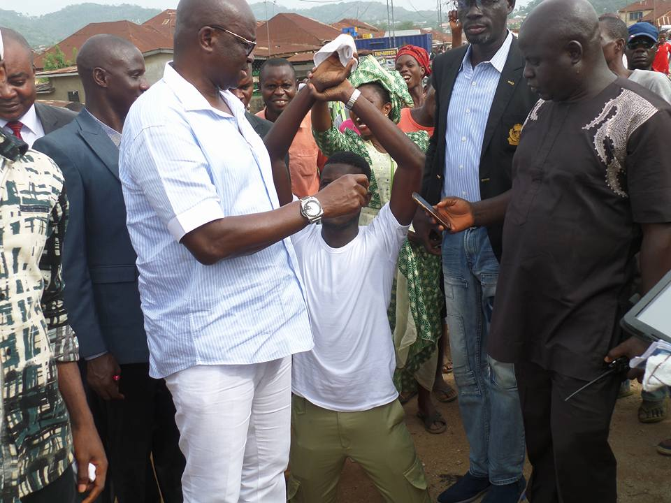 Image result for Ayo Fayose Gives Automatic Employment To NYSC Member For Trying To Photograph Him