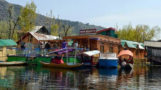 Dal Lake, houseboats, kashmir 1977