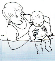 Image of Mother holding her baby in the water:Swimming Lesson For Toddlers & Babies