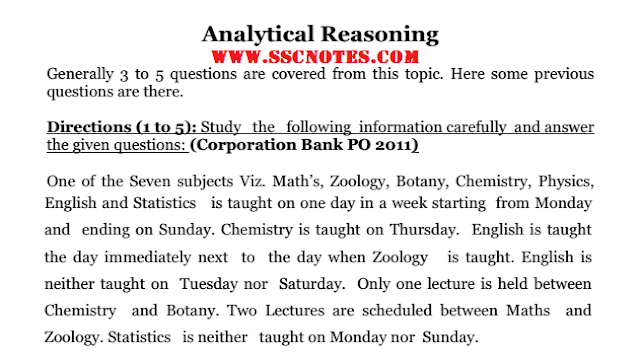 Analytical Reasoning Notes for Competitive Exams PDF Download